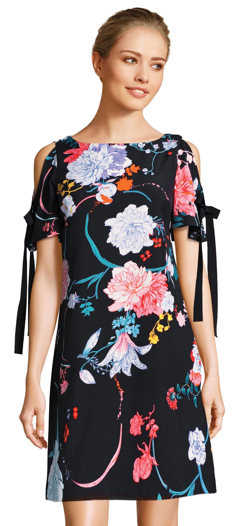 Zen Blossom Shift Dress - Black Multi