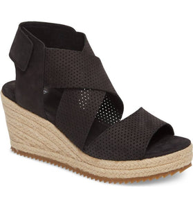 Eileen Fisher Willow Wedge 2 - Black Nubuck, Shoes - shoplagreen.com