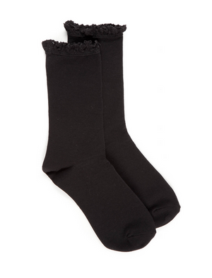 Hue Lace Trim Sock  Black