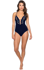 JETS Embroidered Plunge One Piece