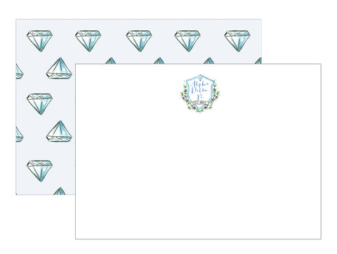 Sorority Watercolor Crest Notecards - Alpha Delta Pi