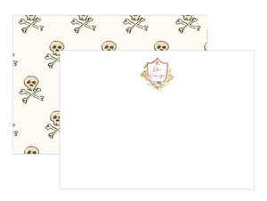 Sorority Watercolor Crest Notecards - Chi Omega