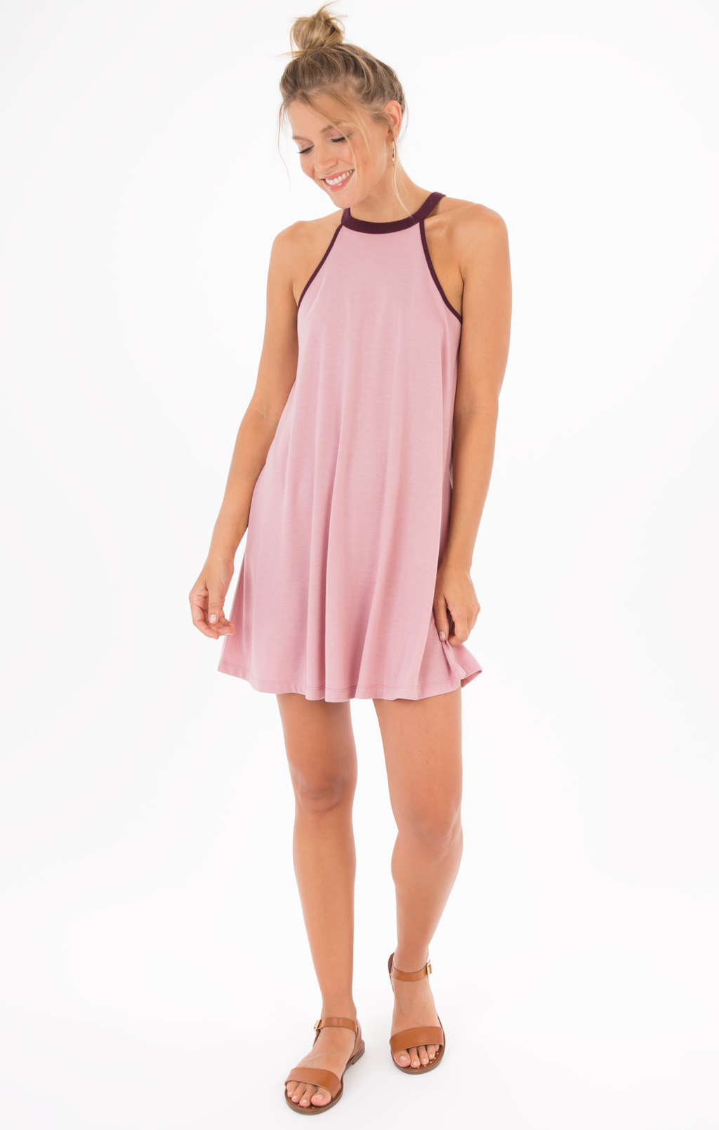 Z Supply The Mei High Neck Dress - Lilac & Plum