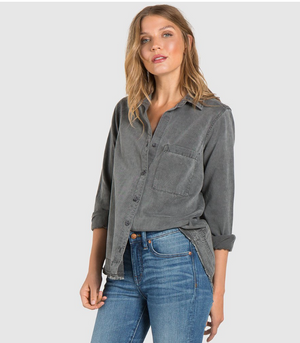 Chain Stitched Button Down - Gunmetal Grey