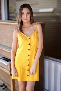 Remington Dress - Canary Yellow Linen
