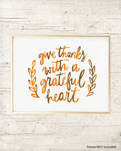 Give Thanks with a Grateful Heart Seasonal Art Print