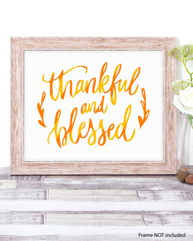 Thankful and Blessed seasonal Art Print