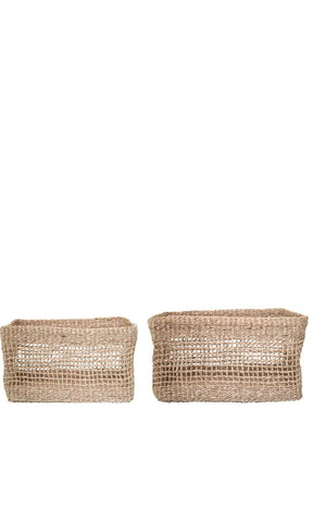 Bloomingville Square Seagrass Baskets, Set of 2