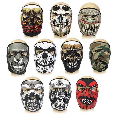 Neoprene FULL Face Reversible Biker Skateboard Motor Bike Scary Sports Mask