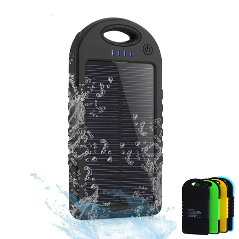 Dual USB 5000mAh Waterproof Solar Power Bank Portable Charger