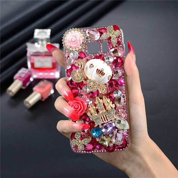 Large Hot Pink Crystal Luxury 3D Bling Castle & Carriage Cell Case