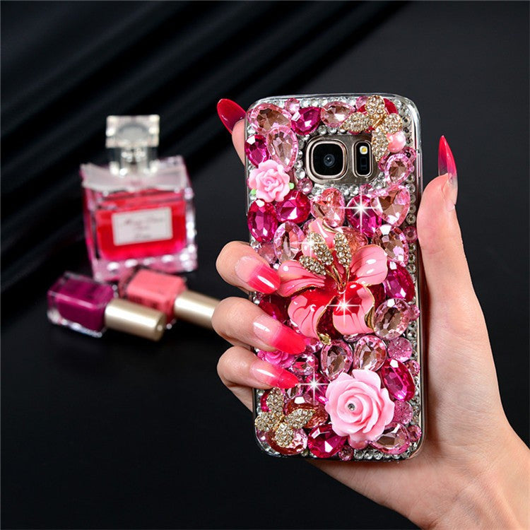Luxury 3D Large Hot Pink Crystal & Gold Bling Hibiscus Flower Case Bling - High Maintenance Bitch
