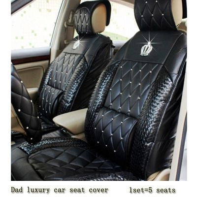 """DAD"" Car Products- Rhinestone Embellished with Crown-Universal Car Seat Covers - High Maintenance Bitch"