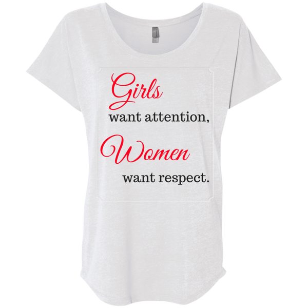 HMB (Girls Want Attention) Ladies' Triblend Dolman Sleeve (Light Colors) Bling - High Maintenance Bitch
