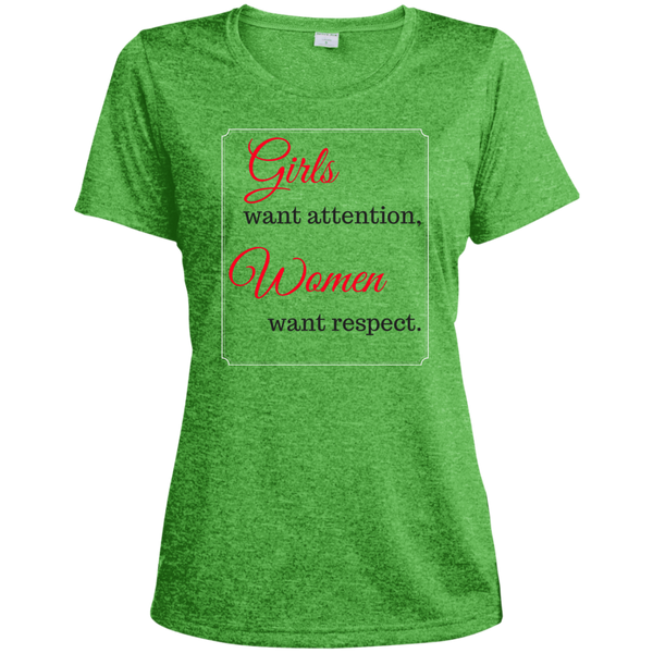HMB (Girls Want Attention) Ladies' Heather Dri-Fit Moisture-Wicking T-Shirt (Dark Colors) Bling - High Maintenance Bitch