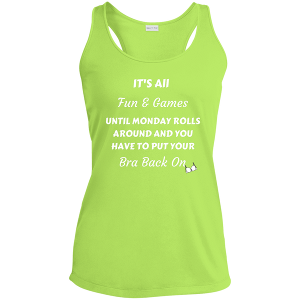 """It's All Fun & Games"" Funny Ladies' Racerback Moisture Wicking Tank Bling - High Maintenance Bitch"