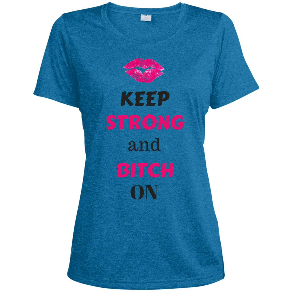 HMB (Keep Strong) Ladies' Heather Dri-Fit Moisture-Wicking T-Shirt (Dark Colors) Bling - High Maintenance Bitch