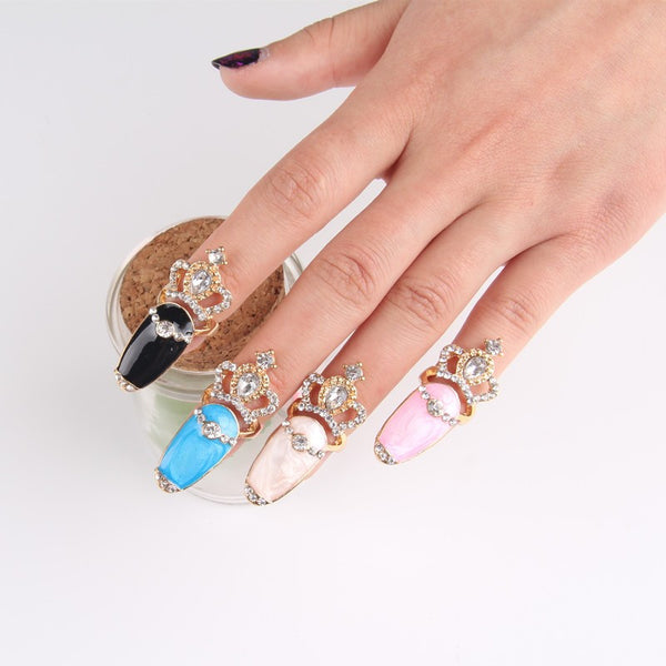 Bright Acrylic Bling Crown Finger Nail Rings (8pc set) Bling - High Maintenance Bitch