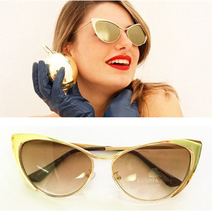 Gold Cat Eye Ladies Sunglasses Bling - High Maintenance Bitch