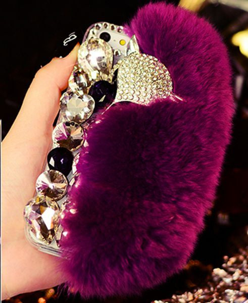 Fox Head & Fur Luxury  Diamond Bling Cell Phone Case Bling - High Maintenance Bitch