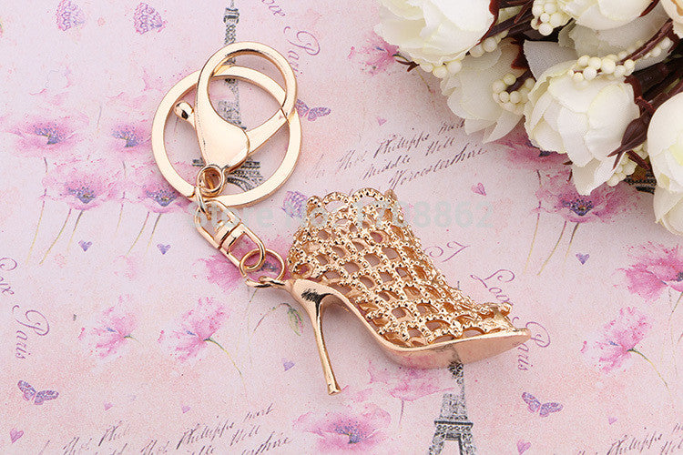 Gold Hollow High Heel Shoe Purse Charm/ Key Chain Bling - High Maintenance Bitch
