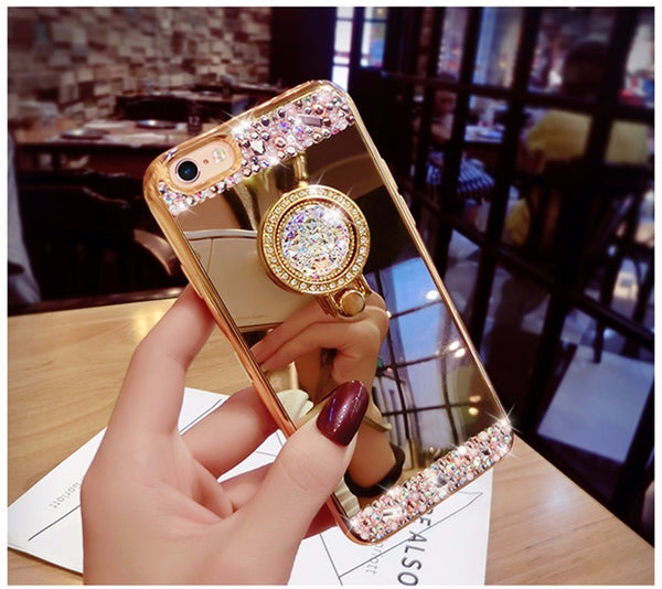 Luxury Diamond Glitter Mirror Case With 360 Phone Ring Stand Bling - High Maintenance Bitch