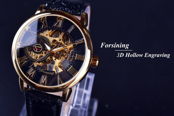 Forsining 3d Logo  Hollow Design Men's Watch Bling - High Maintenance Bitch
