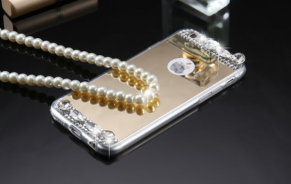 Luxury Mirror Case with large Bling Crystal Diamonds Bling - High Maintenance Bitch