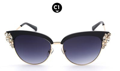 Exaggerated Bling Cat Eye Sunglasses Bling - High Maintenance Bitch