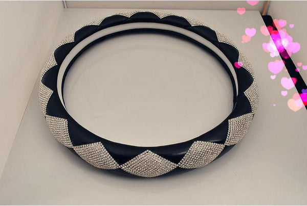 Jushi Fashion Leather Steering Wheel Cover Bling - High Maintenance Bitch