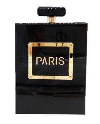 "Acrylic ""Paris"" Perfume Bottle Shaped Evening Clutch Bag with Chain"