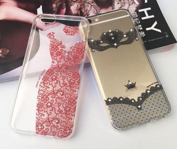 Luxury Crystal Rhinestone Bling Soft TPU Case with Lace Wedding Dress Design Bling - High Maintenance Bitch