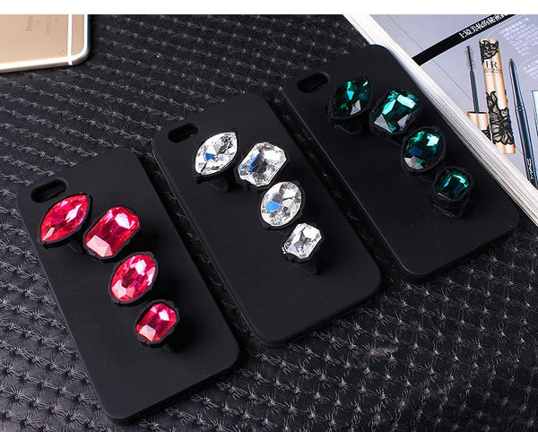 "HOT! Large Rhinestone Bling ""Finger Ring"" Strap Silicon Cell Case Bling - High Maintenance Bitch"