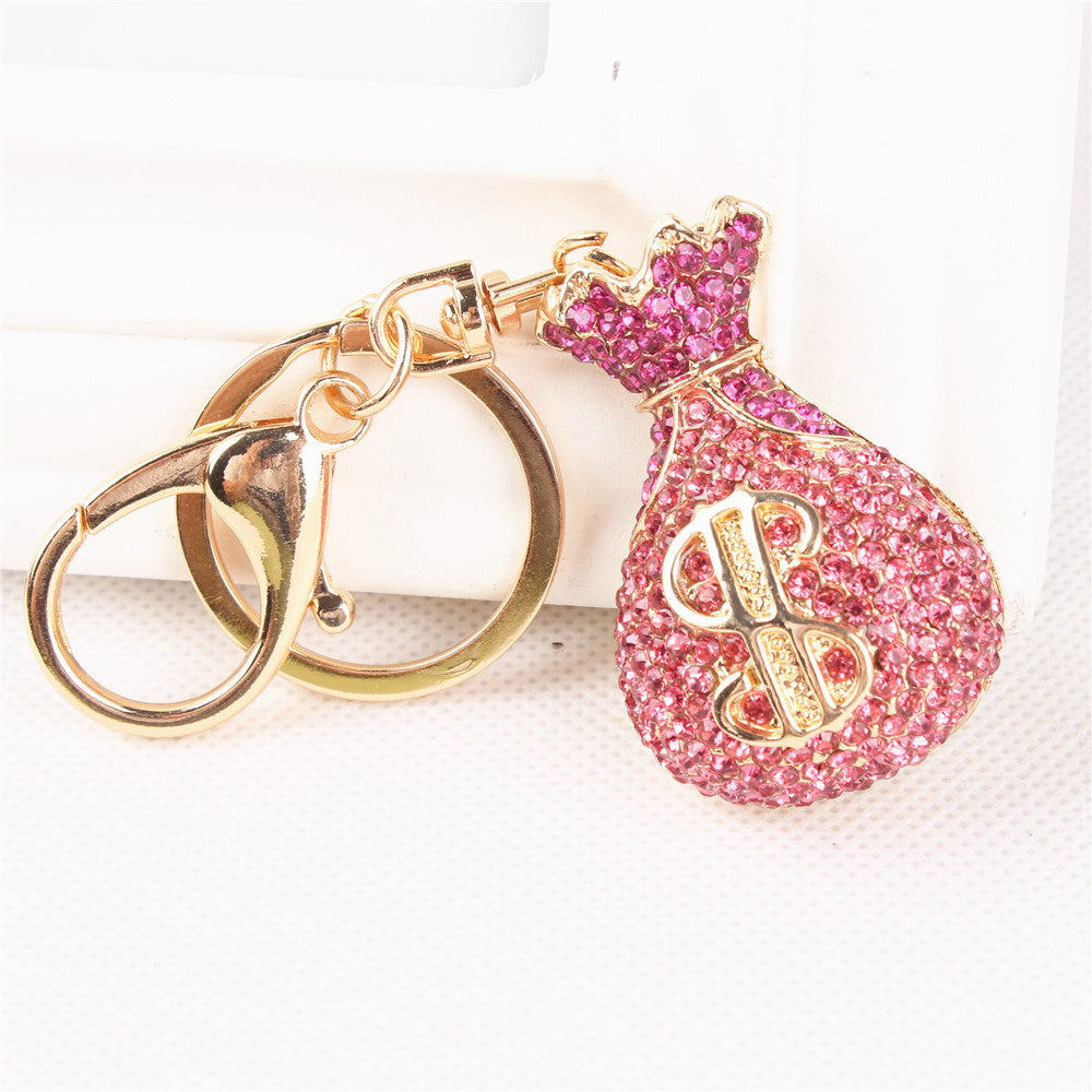 Pink Crystal Rhinestone Moneybag Purse Charm/Key Chain Bling - High Maintenance Bitch