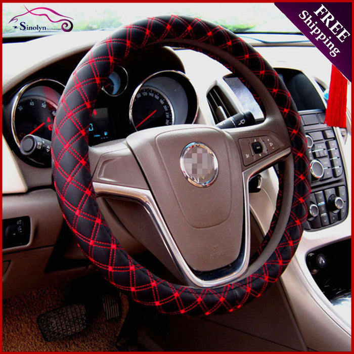 Microfiber PU Leather Steering Wheel Cover Black Red Bling - High Maintenance Bitch