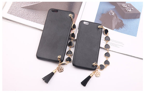 Luxury Cell Case with Black Heart Bracelet Chain & Tassel Bling - High Maintenance Bitch