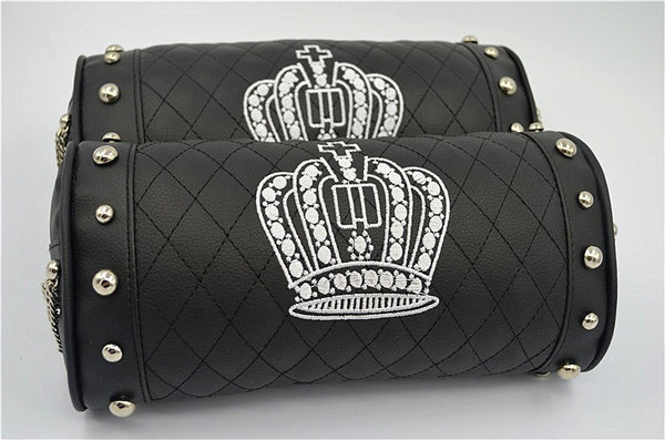 Black Leather Crown Car Seat Pillow Bling - High Maintenance Bitch