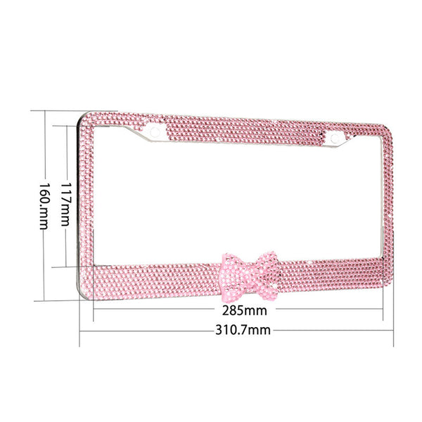 Pink Bow Bling Crystal Metal License Plate Frame Matching Screws & Caps Bling - High Maintenance Bitch