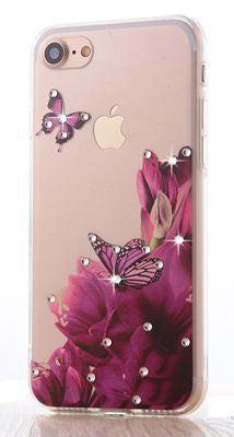 Luxury Floral Painted Bling Rhinestone Case Bling - High Maintenance Bitch