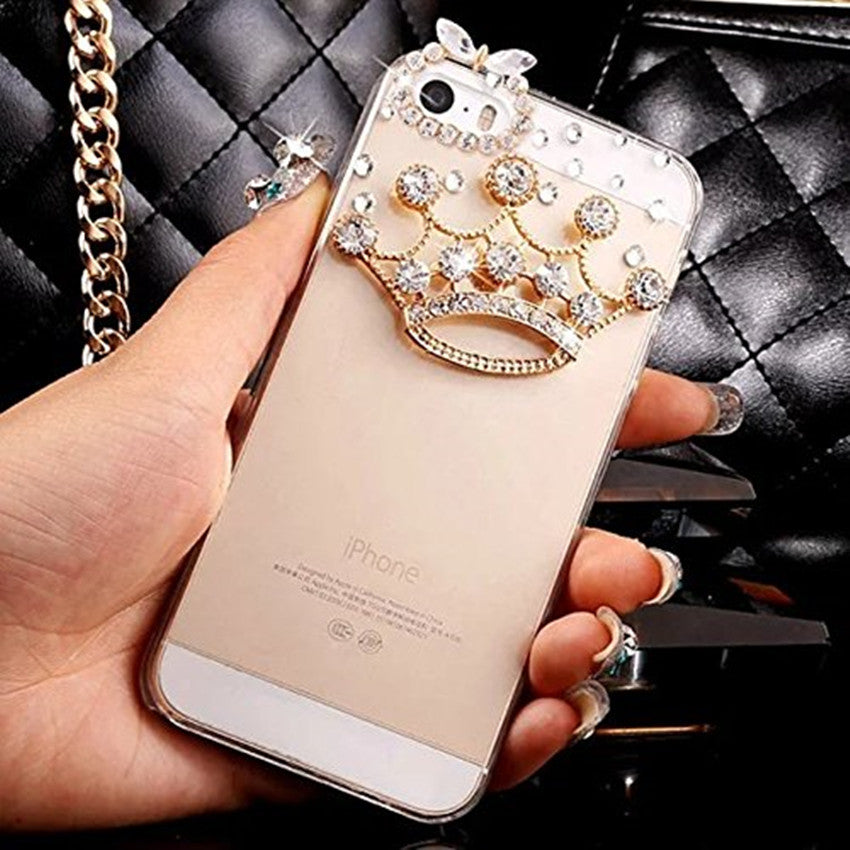 Luxury Bling Crystal Diamond Crown Clear Back Phone Case Bling - High Maintenance Bitch