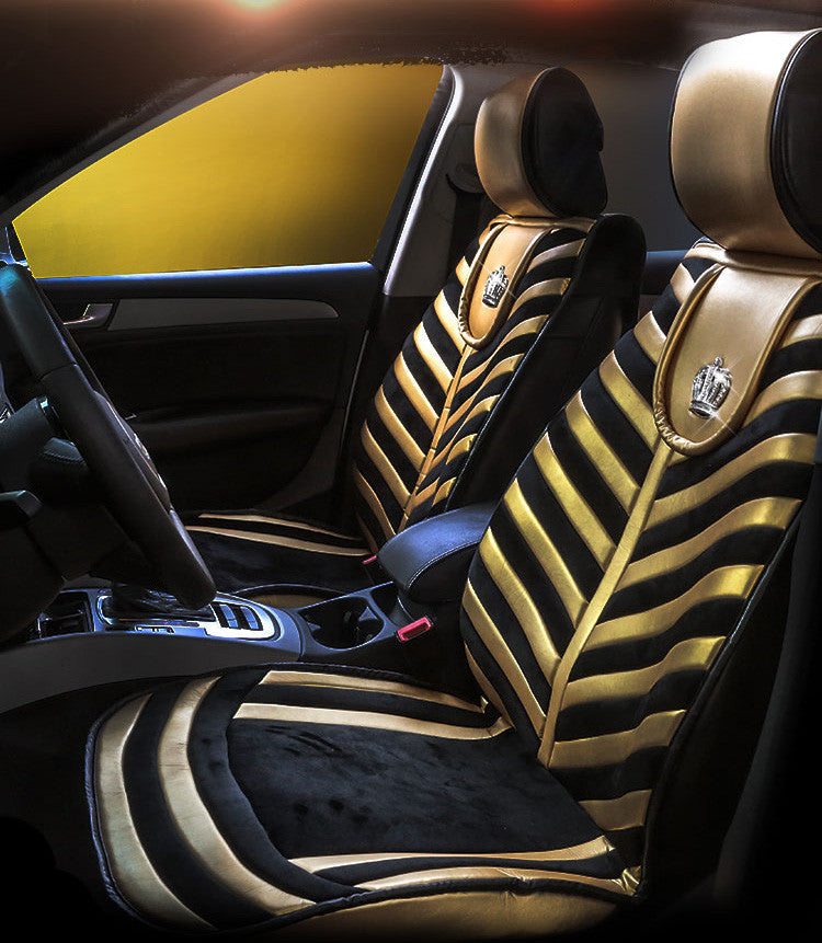 New DAD Fashion Gold Black Zebra Striped Car Seat Covers With Bling Diamond