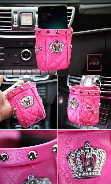 Lady Series Diamond Crown & Rivet Bag (10*11cm ) for Cars Bling - High Maintenance Bitch