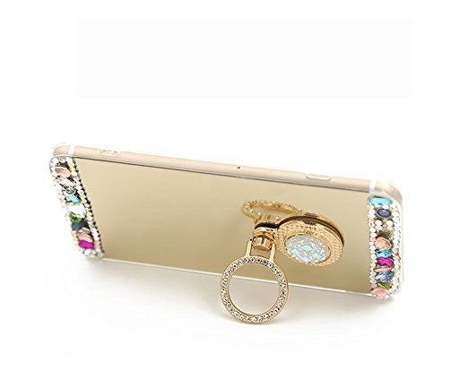 Crystal Rhinestone Bling & Mirror Soft Rubber Case with Bling Ring Stand/Holder