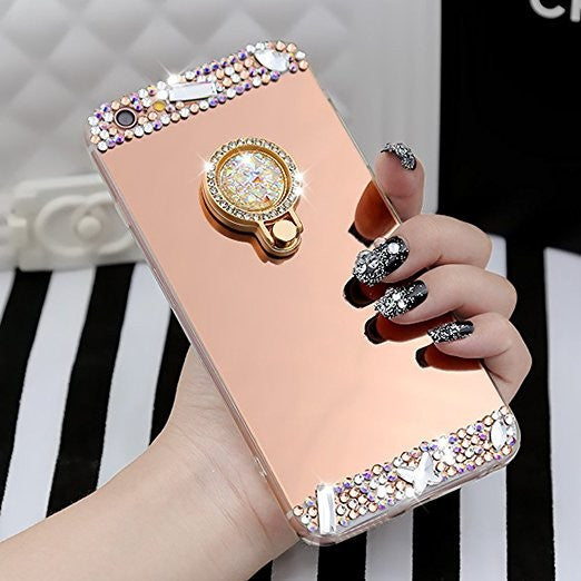 Crystal Rhinestone Bling & Mirror Soft Rubber Case with Bling Ring Stand/Holder Bling - High Maintenance Bitch