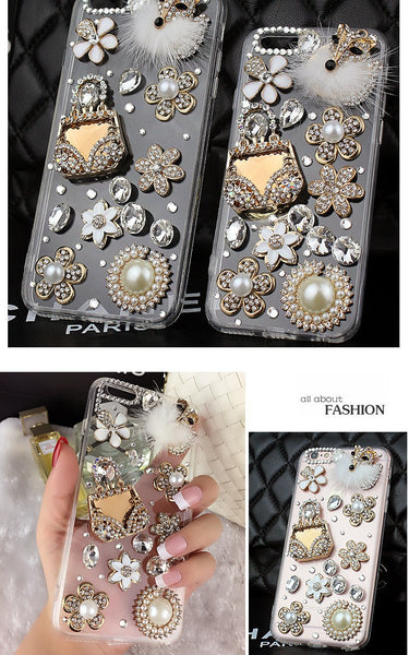 Luxury Soft Shell Bling Fox & Purse Cell Case