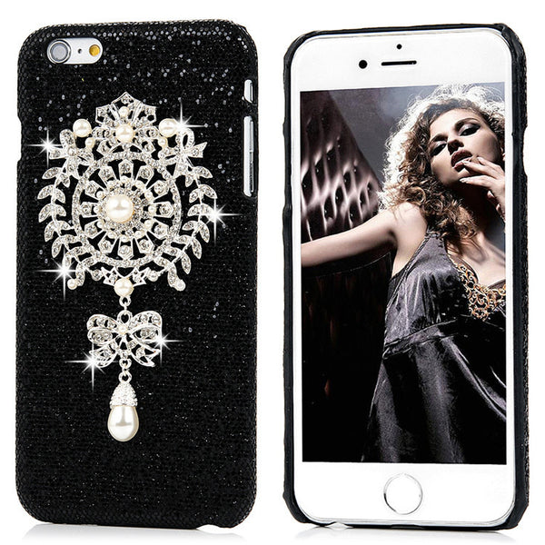 "3D Pearl ""Dream Catcher or Lion Head on Black Glitter Cell Case Bling - High Maintenance Bitch"
