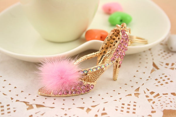 Beautiful Bling High Heel Slipper with Feather Pom Pom Purse Charm/Key Chain Bling - High Maintenance Bitch
