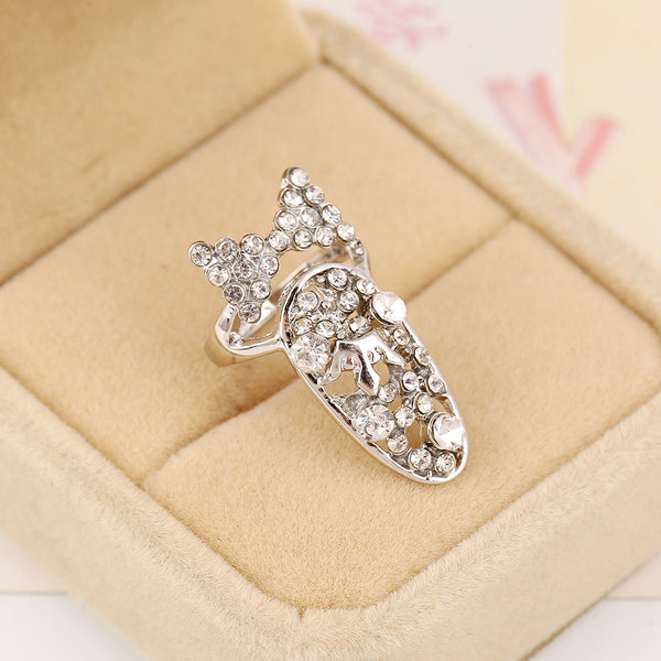 Bling Bow Tie Finger Nail Ring