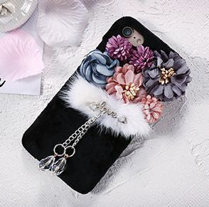 Lovely Plush Flowers & Fur Fashion Cell Case Bling - High Maintenance Bitch