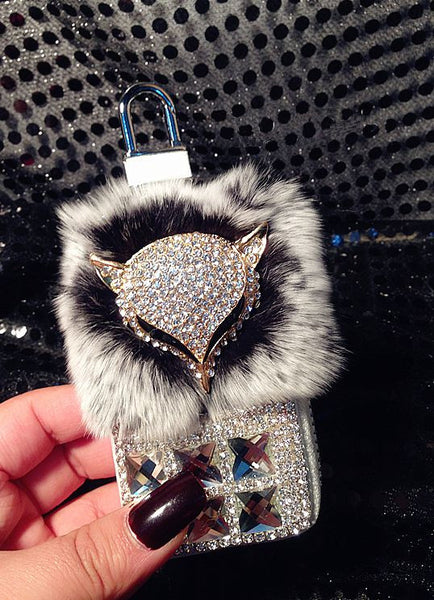 Leather Bling Fox & Fur Key Case and Change Purse Bling - High Maintenance Bitch